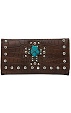 Nocona® Ladies Brown Croc w/ Turquoise Cross & Crystals Flap Wallet