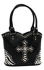 Blazin Roxx® Ladies Black Gator Print w/ Zebra Cross & Crystals Bucket Bag