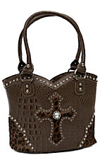 Blazin Roxx® Ladies Brown Gator Print w/ Cheetah Cross & Crystals Bucket Purse