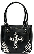 Blazin Roxx® Ladies Black Gator Print w/ Zebra Cross & Crystals Tote