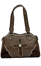 Blazin Roxx® Ladies Brown Gator Print w/ Cheetah Cross & Crystals Tote