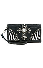 Blazin Roxx® Ladies Black Gator Print w/ Zebra Print Cross Flap Wallet