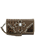 Blazin Roxx® Ladies Brown Gator Print w/ Leopard Print Cross Flap Wallet