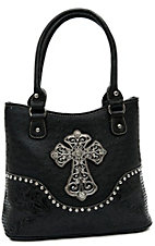 Blazin Roxx® Ladies Black Ostrich Print w/ Zebra Cross & Crystals Tote