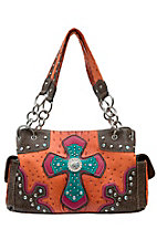 Blazin Roxx Women's Orange Gator & Ostrich Print with Cross Center Satchel