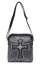 Blazin Roxx Women's Grey Gator Print with Cross Messenger Bag