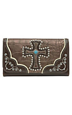 Blazin Roxx Ladies Bronze Gator Print with Cross Flap Wallet