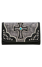 Blazin Roxx Ladies Grey & Black Gator Print with Cross Flap Wallet