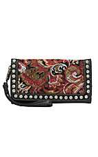Blazin Roxx Red Paisley Quilted with Black Faux Leather and Crystals Flap Wallet