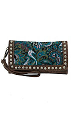 Blazin Roxx Turquoise Paisley Quilted with Brown Faux Leather and Crystals Flap Wallet
