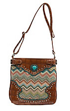Blazin Roxx Multi Tan Chevron with Brown Faux Leather and Heart Concho Crossbody Purse