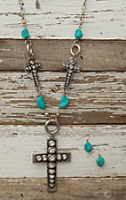 West & Co® Silver Three Cross & Turquose Necklace & Earrings Set