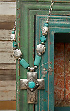 West & Co® Silver Cross w/ Turquoise Stones & Cross Beaded Jewelry Set