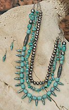 West & Co® 3 Strand Turquoise Patina & Hematite Beaded Jewelry Set