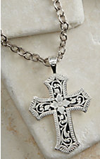 Montana Silversmiths® Silver Floral Engraving Cross Necklace