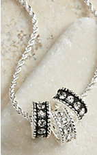 Montana Silversmiths® Silver with Black Crystal Shine Necklace