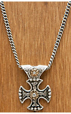 Montana Silversmiths® Antiqued Silver and Gold Canterbury Cross Necklace