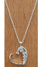 Montana Silversmiths® Silver Horseshoe Nail Heart with Crystals Necklace
