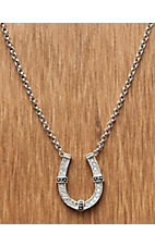Montana Silversmiths® Silver Horseshoe Clear Crystal Necklace
