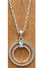 Montana Silversmiths® Silver Round Horseshoe Nails with Pink Crystals Necklace