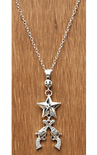 Montana Silversmiths® Silver Star with Pistols Crossing Necklace