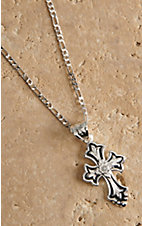 Montana Silversmiths® Silver and Black with Clear Crystal Cross Necklace