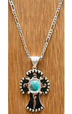 Montana Silversmiths® Silver Three Color Cross with Turquoise Necklace