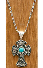 Montana Silversmiths® Antiqued Silver Cross with Flower and Turquoise Necklace