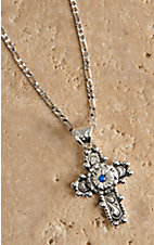 Montana Silversmiths® Silver Antiqued Flower Cross with Blue Stone Necklace