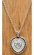 Montana Silversmiths® Silver and Black Roped Heart with Crystals Necklace