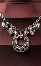 Montana Silversmiths® Charmed Cowgirl Pink Horseshoe Necklace