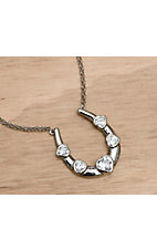 Montana Silversmiths® Tread With Care Horseshoe and Clear Hearts Necklace