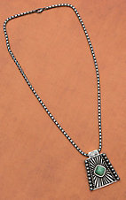Montana Silversmiths� Antiqued Silver with Green Stone Sunburst Pendant