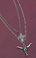 Montana Silversmiths Silver Steer Skull & Cross Pendant Double Silver Chain Necklace