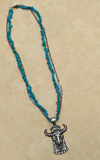 Montana Silversmiths® Silver Buffalo Skull Pendant with Turquoise Chip Stone & Silver Chain Necklace