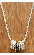 Montana Silversmiths® Silver with Topaz and Gold Crystal Shine Triple Ring Necklace