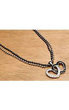 Montana Silversmiths® Double Heart Black & Clear Crystal Necklace