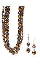 3-D Belt Company® Brown 3 Strand Bead Jewelry Set