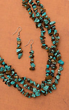 Silver Strike® Turquoise & Brown Chip Stones Triple Strand Necklace and Earrings Jewelry Set