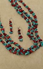 Silver Strike® Turquoise & Red Chip Stones Triple Strand Necklace and Earrings Jewelry Set