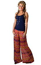Karlie® Women's Orange Aztec Chiffon Palazzo Pants