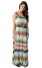 Karlie® Women's Green, Red and Blue Splash Empire Waist Chiffon Maxi Dress
