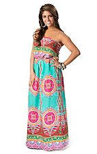 Karlie Women's Turquoise and Pink Multi Print Strapless Maxi Dress