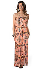 Karlie® Women's Peach with Black Aztec Print Strapless Chiffon Maxi Dress