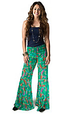Karlie Women's Jade with Multicolor Feather Print Chiffon Flared Legs Palazzo Pants