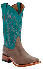 Nocona® Ladies Tan Vintage Cow w/ Turquoise Top Square Toe Western Boots