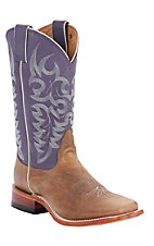 Nocona® Ladies Tan Arizona Cow w/ Grape Top Square Toe Western Boots