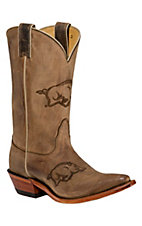 Nocona Ladies Arkansas Distressed Brown Branded Square Toe Boots