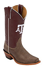 Nocona Women's Texas A&M University Vintage Brown w/ Logo on Maroon Top Single Welt Square Toe Western Boots
