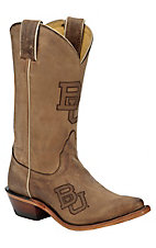 Nocona Ladies Distressed Tan Brown Branded Baylor Snip Toe Western Boots